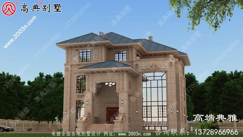 欧式石材三楼别墅住宅设计图,新农村住宅设计推荐