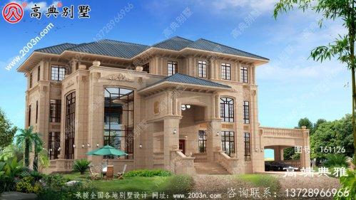 欧式石材三层别墅住宅设计图纸,