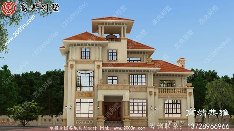 三层复式别墅房屋设计图,带外型设计效果图欧式风格