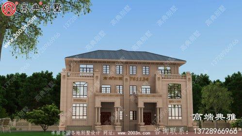 带外观效果图的三层复式别墅住宅