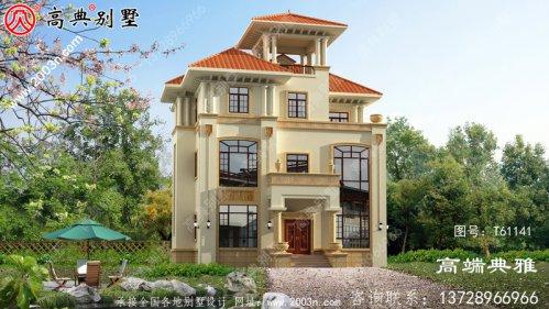 农村实用三层建筑外观图+全套建筑设计图纸