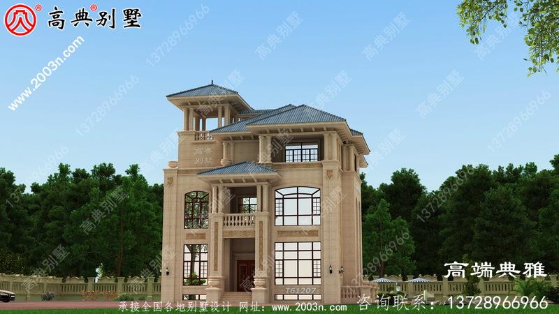 最新设计的三楼农村别墅图纸,带复式设计客厅和露台