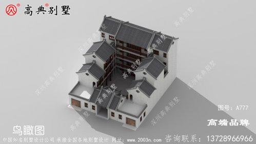 中式仿古豪华别墅外观图