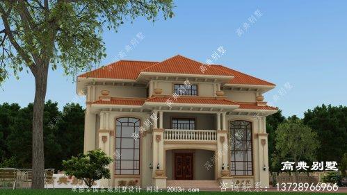欧式高档复式三层别墅外观图