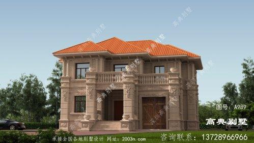 欧式石材两层别墅带车库