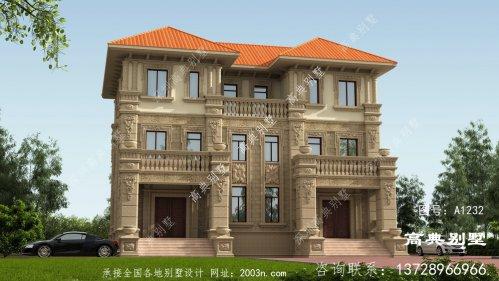 欧式双拼三层别墅外观设计效果图,一栋两户