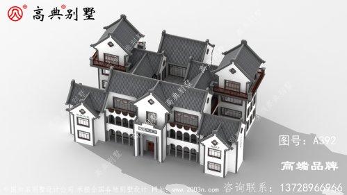 四层中式别墅效果图