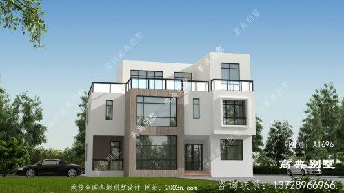 外观漂亮精致,现代风格三层平屋顶别墅