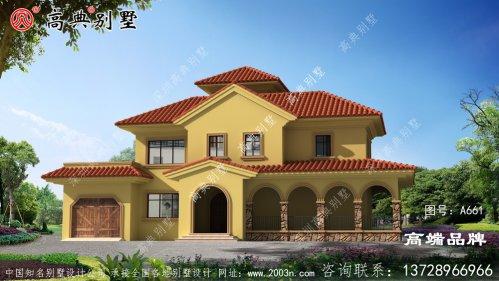 地中海风格三层欧式别墅外观设计图