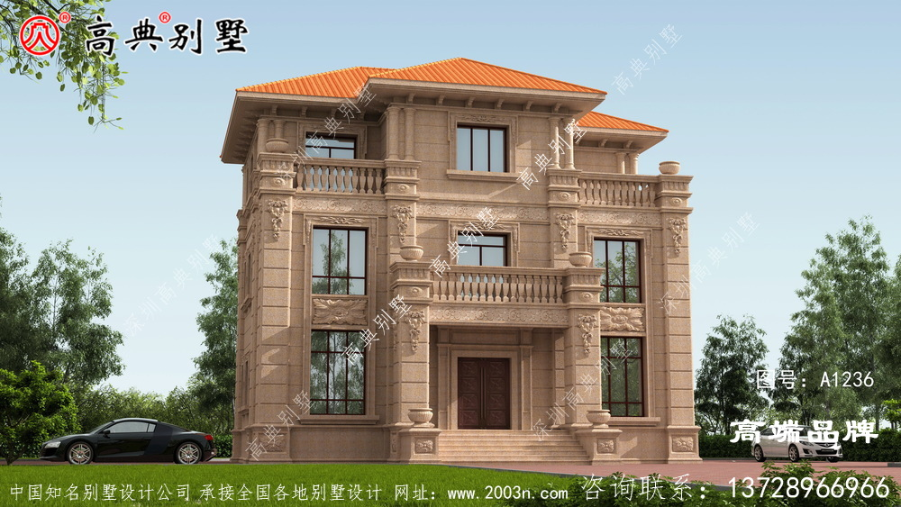 欧式石材三层自建别墅,真的太经典了