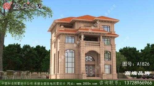 豪华大气四层欧式石材别墅设计图纸