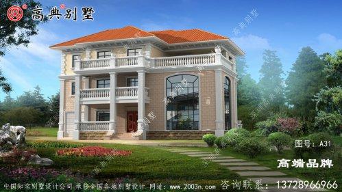 农村漂亮欧式三层复式别墅自建房