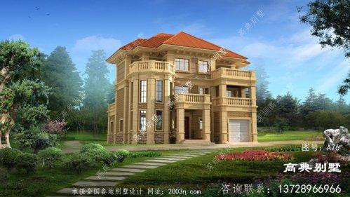 法式三层别墅设计,复式单户自建房配车库