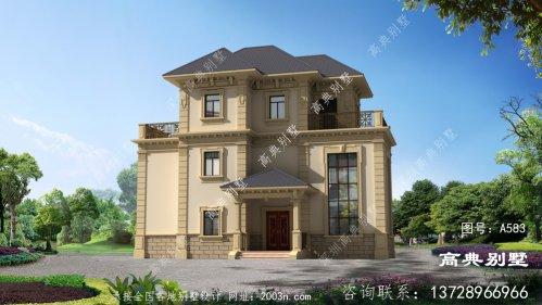 法式风格三层别墅设计图带露台