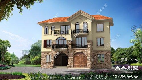 农村建筑欧式三层别墅户型设计图配车库