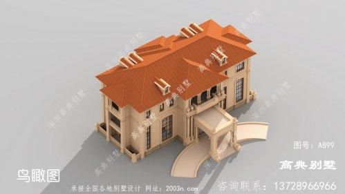 豪华欧式石材三层农村别墅的设计图