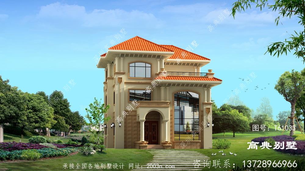 欧式三层优雅复式别墅设计图纸及效果图