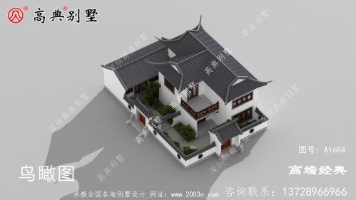 徽州徽派二层别墅建筑建于 乡间 ,犹如 一幅 别
