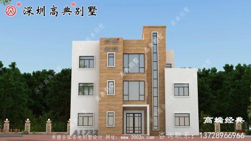 三层自建房,方正舒适实用,适合大部分农村家庭建造。