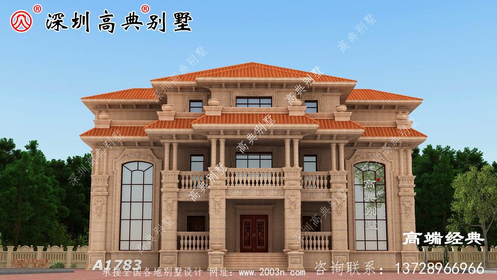 三层别墅设计图,简约实用,自己住着也方便舒适。
