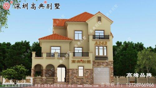 三层欧式别墅设计图,户型方正,