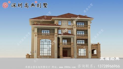 三层半自建房外观图精致细腻,是