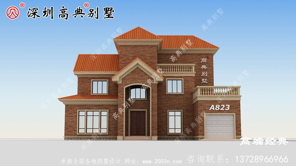现代二层新农村住宅复式设计方案图,户型简单实用。