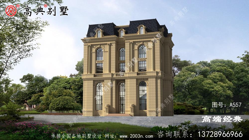 法式五层别墅外观设计图,看上去简单大方经典不易过时